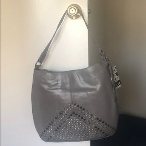 the Sak Gray Studded Leather Hobo Handbag w/ tags